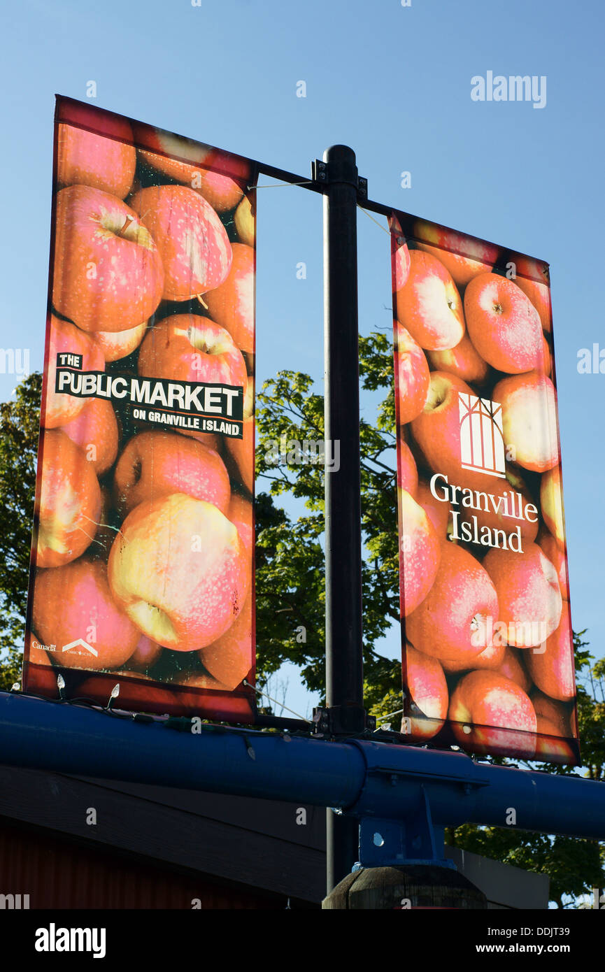 Granville Island Public Market banners, Granville Island, Vancouver, British Columbia, Canada - Stock Image