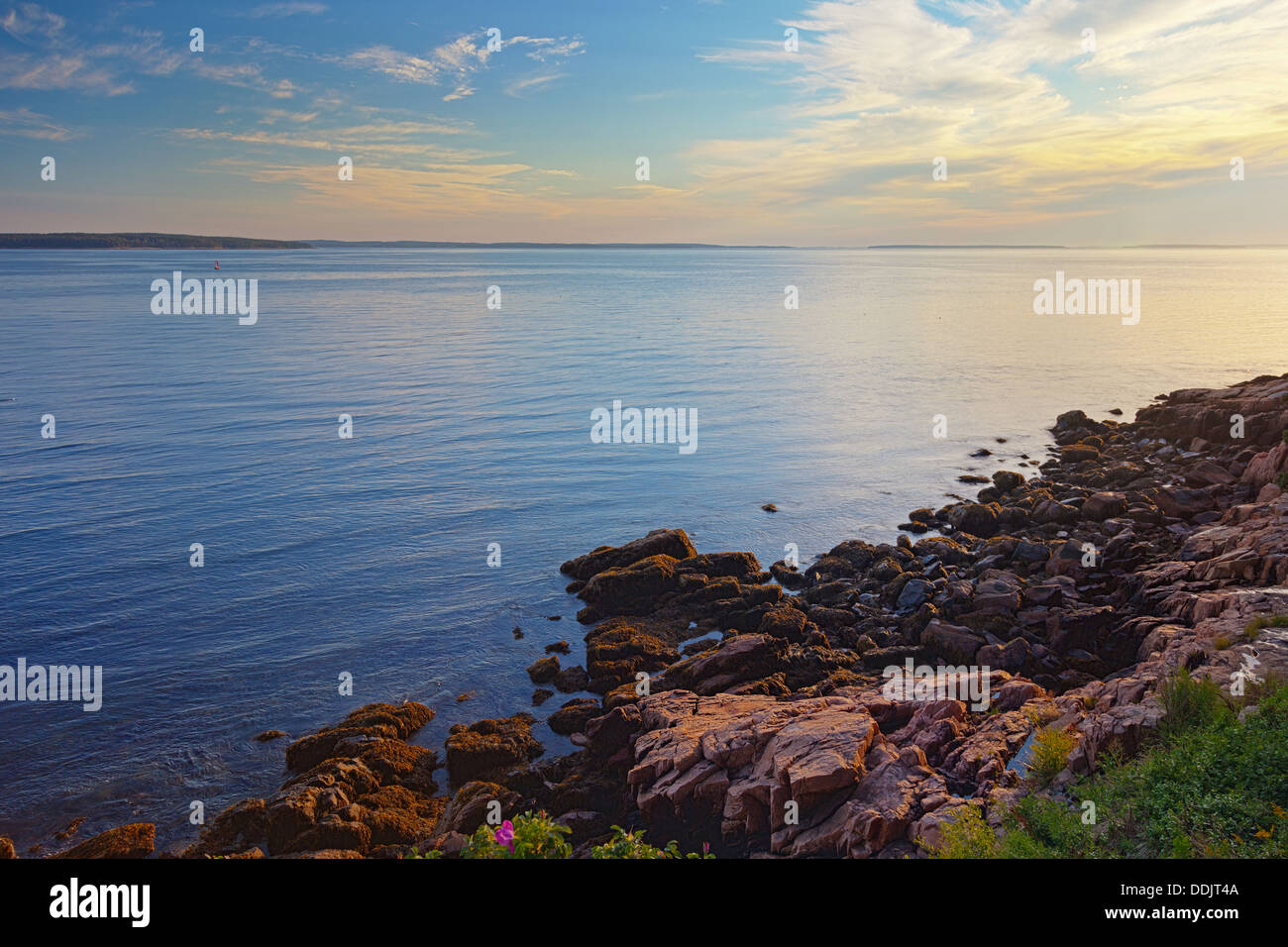 Coast of Mt. Desert Island, Maine, at sunset Stock Photo