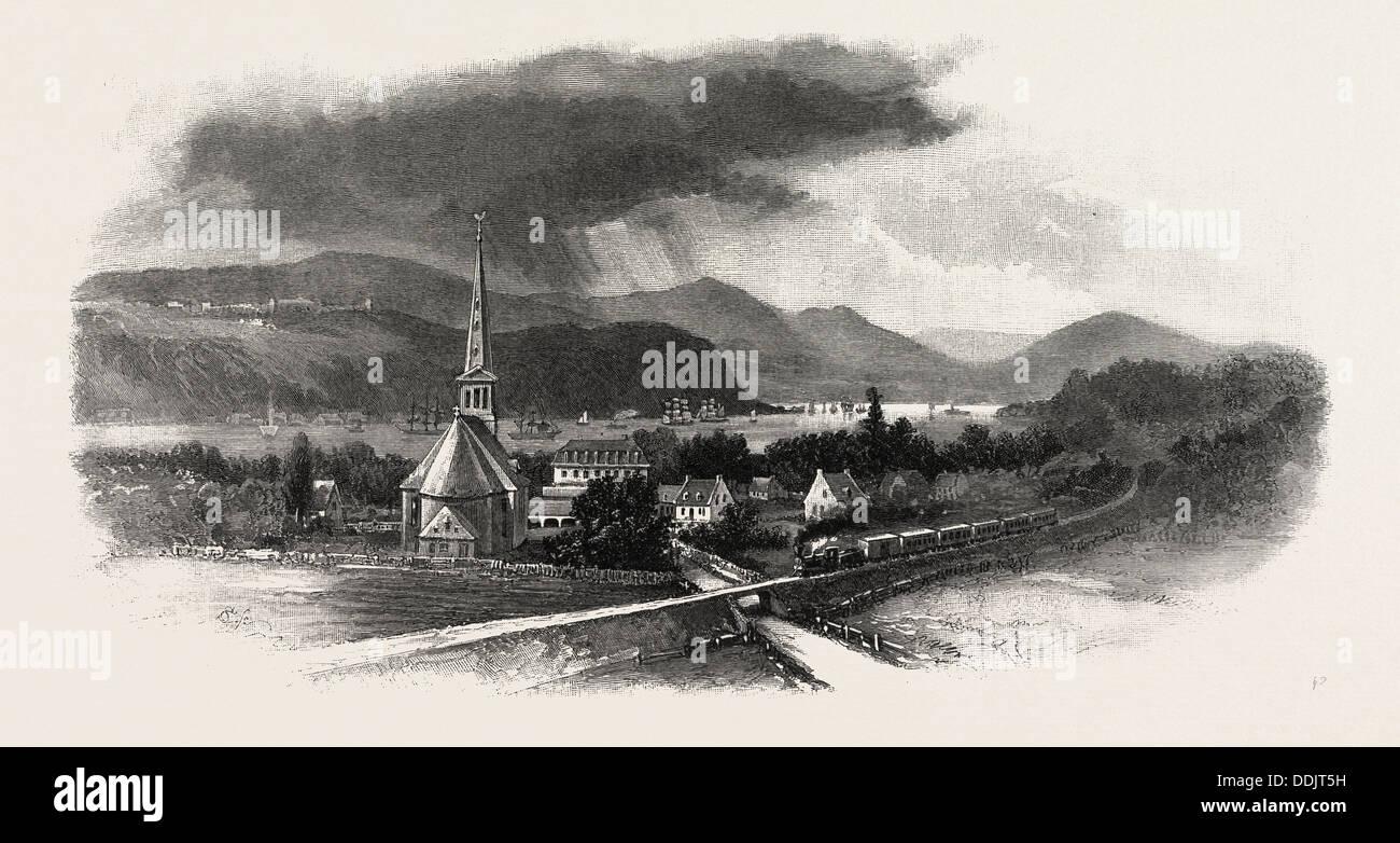 FRENCH CANADIAN LIFE, CAPE DIAMOND, FROM ST. ROMUALD, CANADA, NINETEENTH CENTURY ENGRAVING Stock Photo