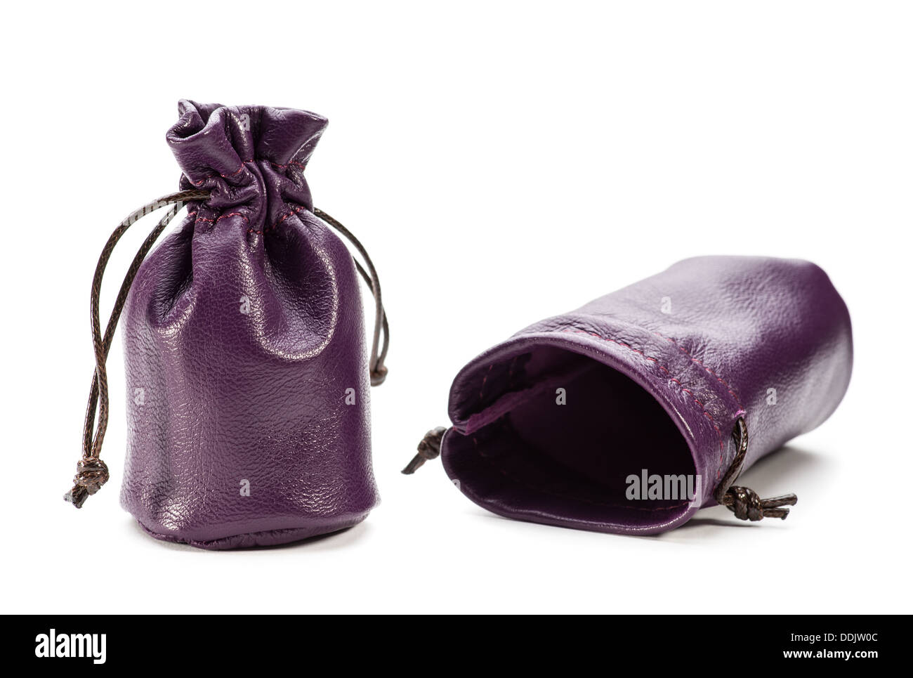 A leather pouch on a white background - Stock Image