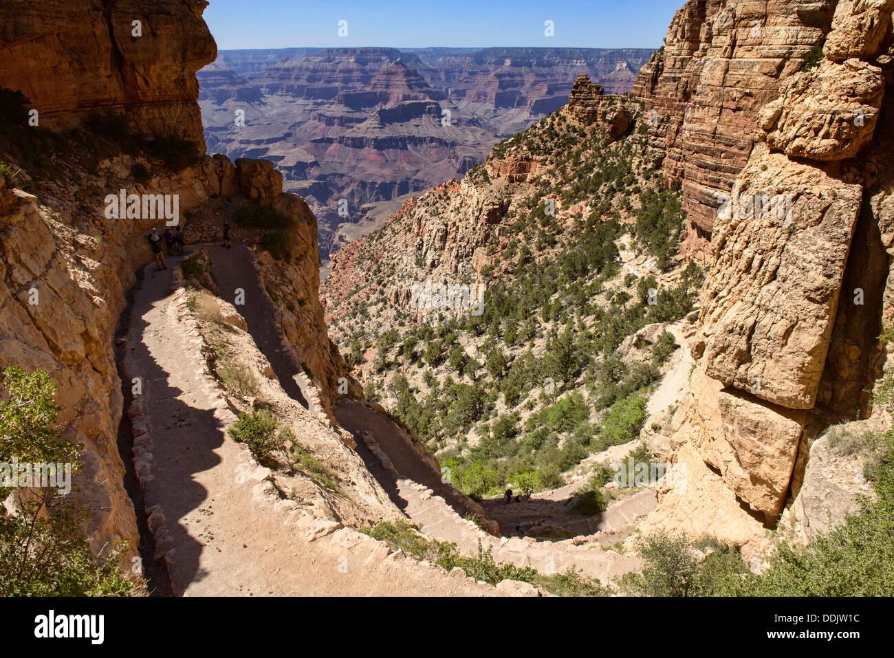 View down the Kaibab Trail, Grand Canyon National Park, Arizona - Stock Image