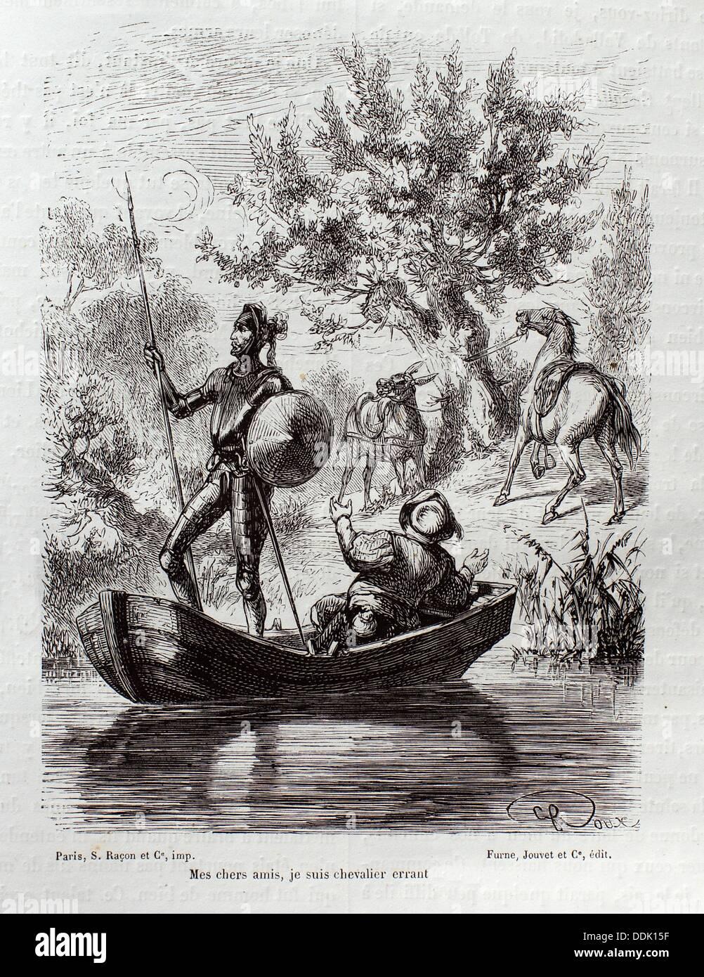 ´Mes chers amis, je suis chevalier errant´, The Ingenious Gentleman Don Quixote of La Mancha by Miguel de Cervantes - Stock Image