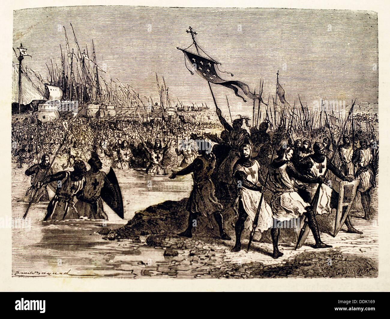 France, History- ´Saint Louis débarque en Egypte´: Louis IX 25 April 1214 - 25 August 1270, commonly Saint Louis, was King of - Stock Image