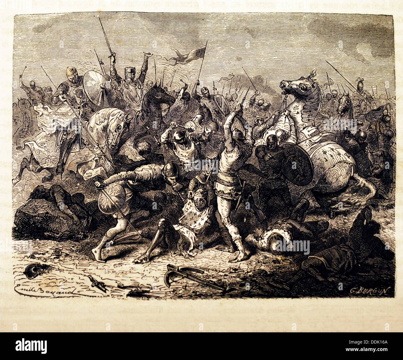 France-History- The Battle of Bouvines, 27 July 1214, was a conclusive  medieval battle ending the twelve year old War of
