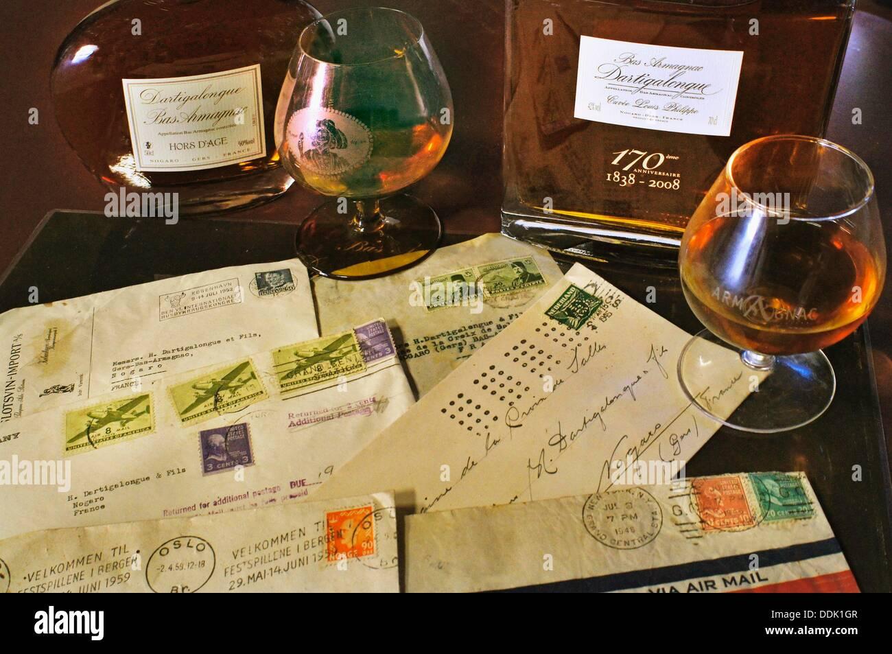 Exporting armagnac to many countries, Armagnac Dartigalongue estate at Nogaro, Gers, Midi-Pyrenees, France - Stock Image