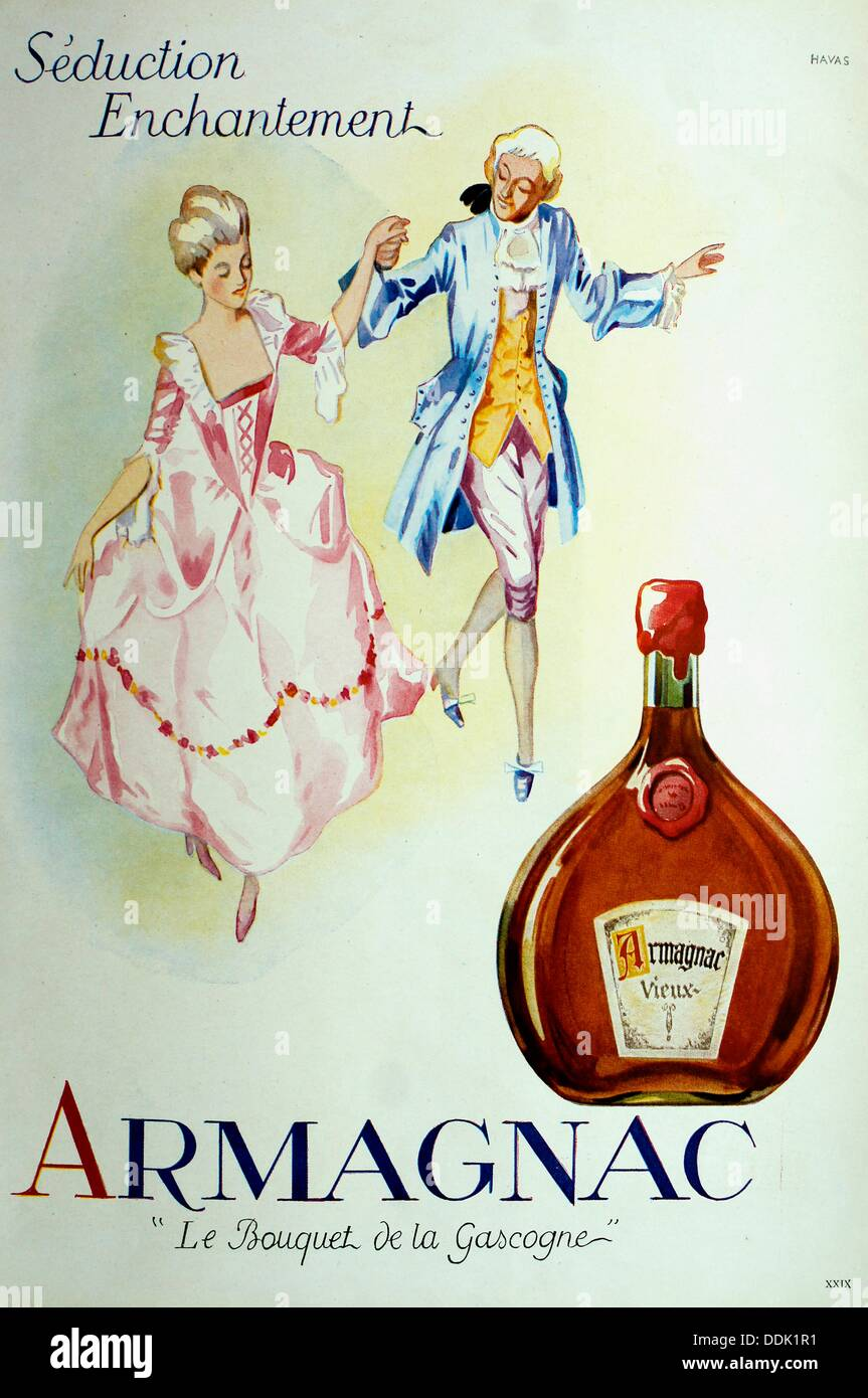 Ad in a magazine in the 1950´s: ´Séduction, Enchantement, Armagnac Le Bouquet de la Gascogne´, France - Stock Image