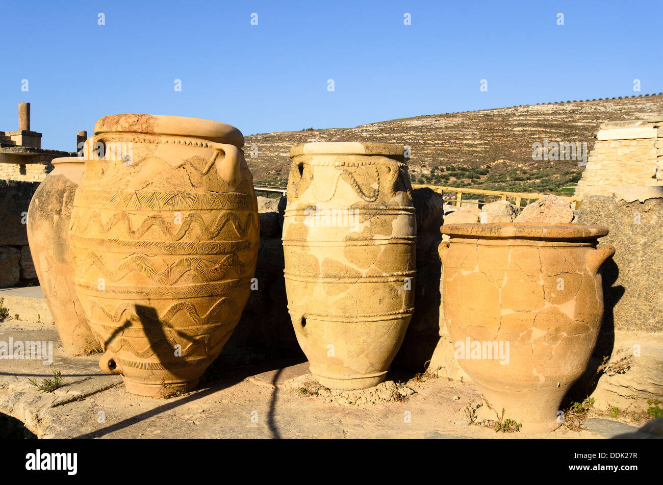 Giant Antique Amphoras From The Knossos Palace Crete Greece Stock