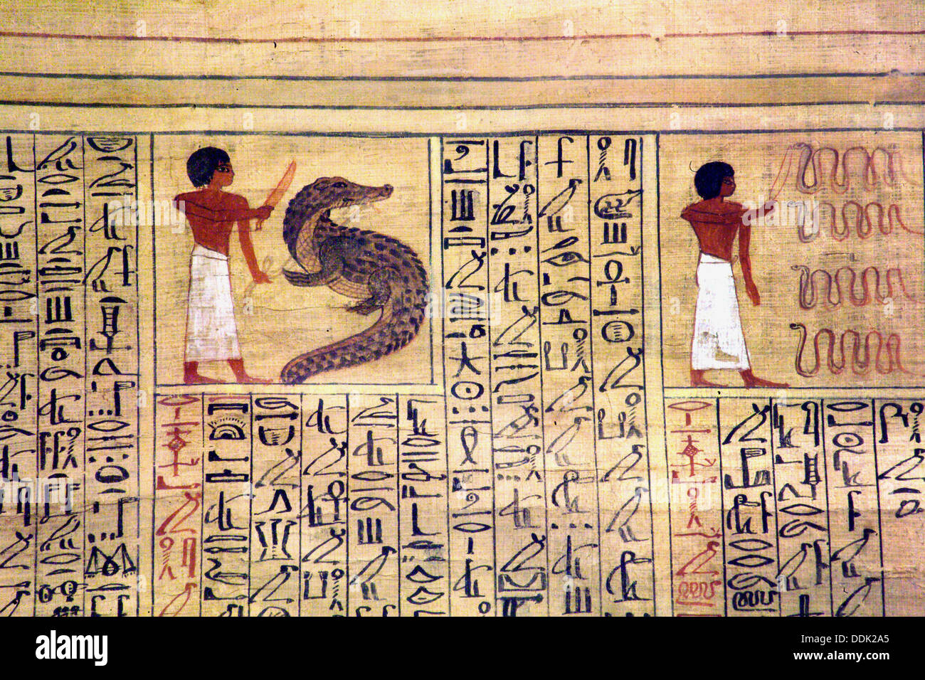 Detail of Book of Dead found in the Tomb of Kha and preserved at the Egyptian Museum of Torino. Italy - Stock Image