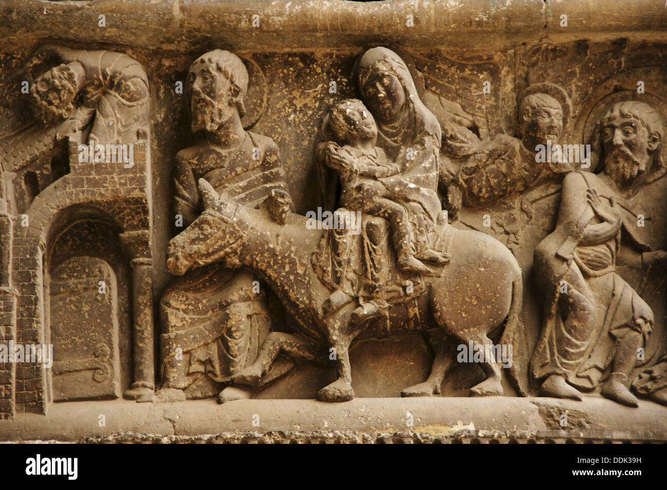 The escape from Egypt, sculpture on the righ jamb of the South front of Saint-Pierre abbey church, Moissac. Tarn-et-Garonne, - Stock Image