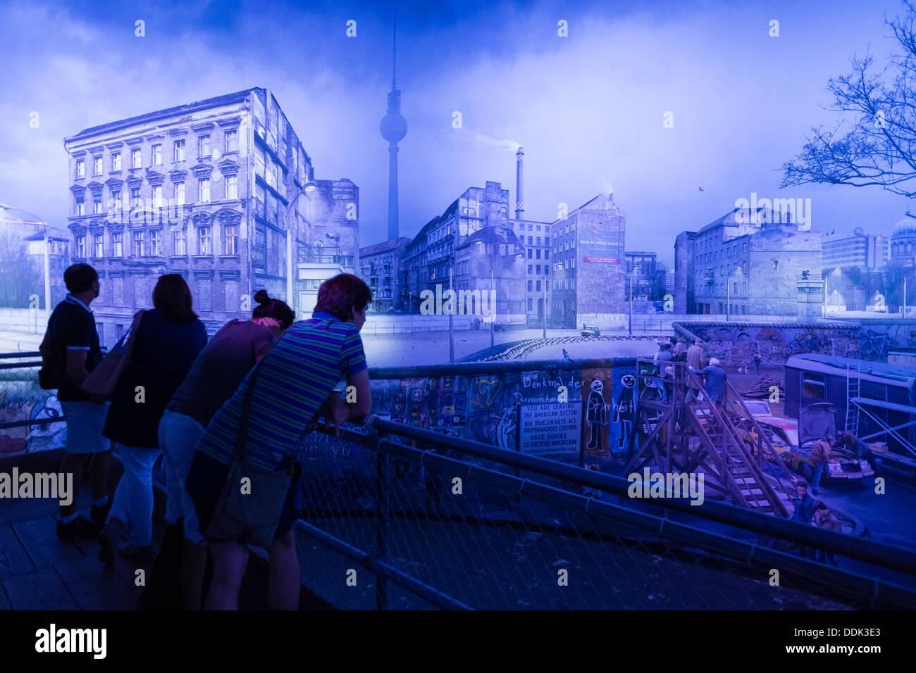 Panorama painting by artist Yadegar Asisi recreating the Berlin Wall at East German border in Berlin Germany - Stock Image
