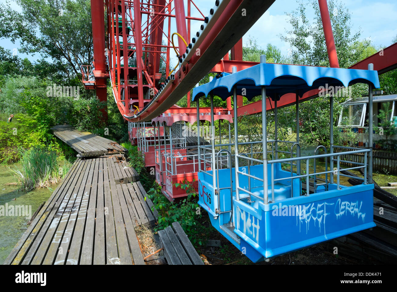 Abandoned former amusement park at Spreepark in Berlin Germany - Stock Image