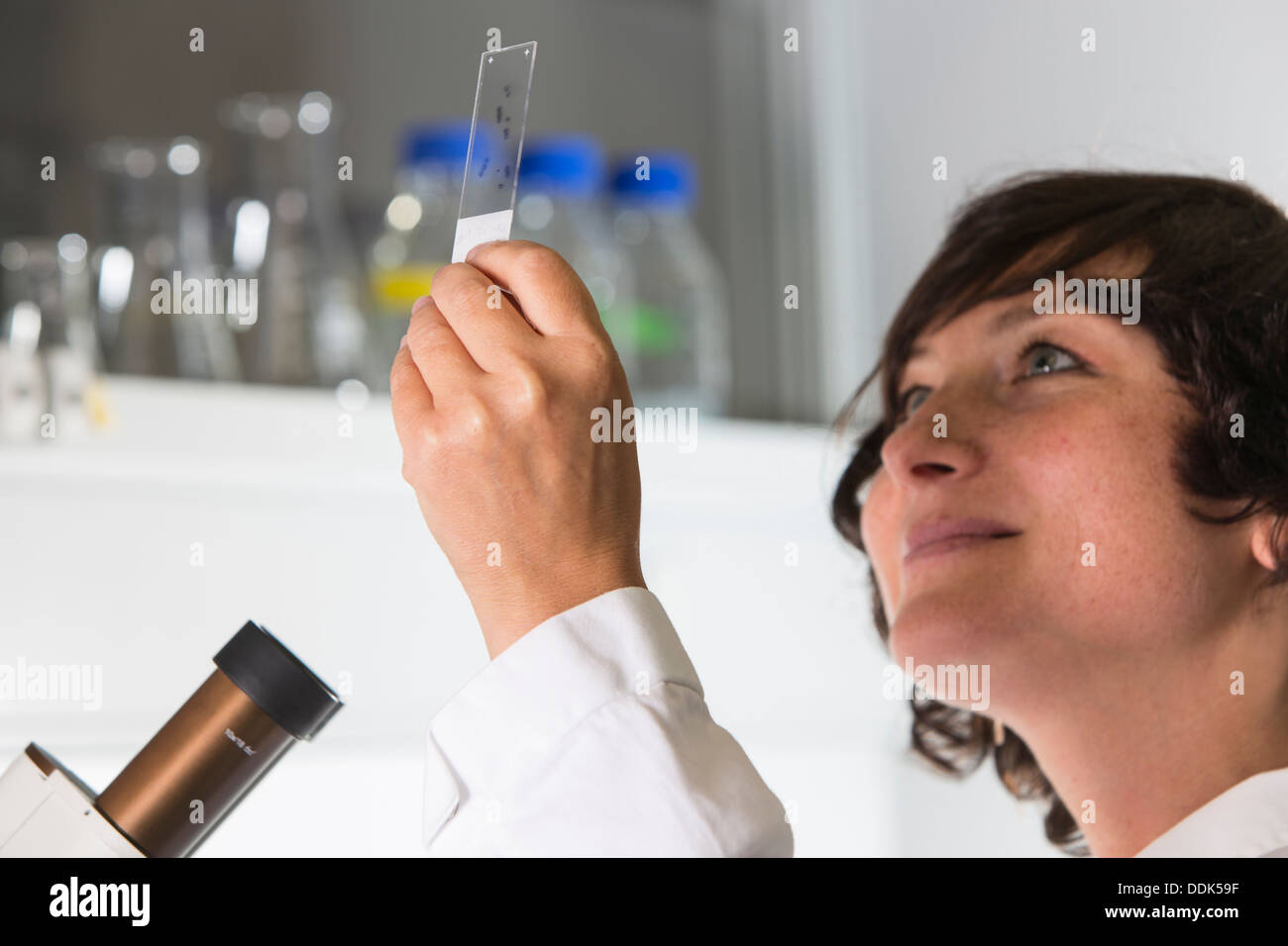 Portrait of female scientist at the laboratory with microscope - Stock Image