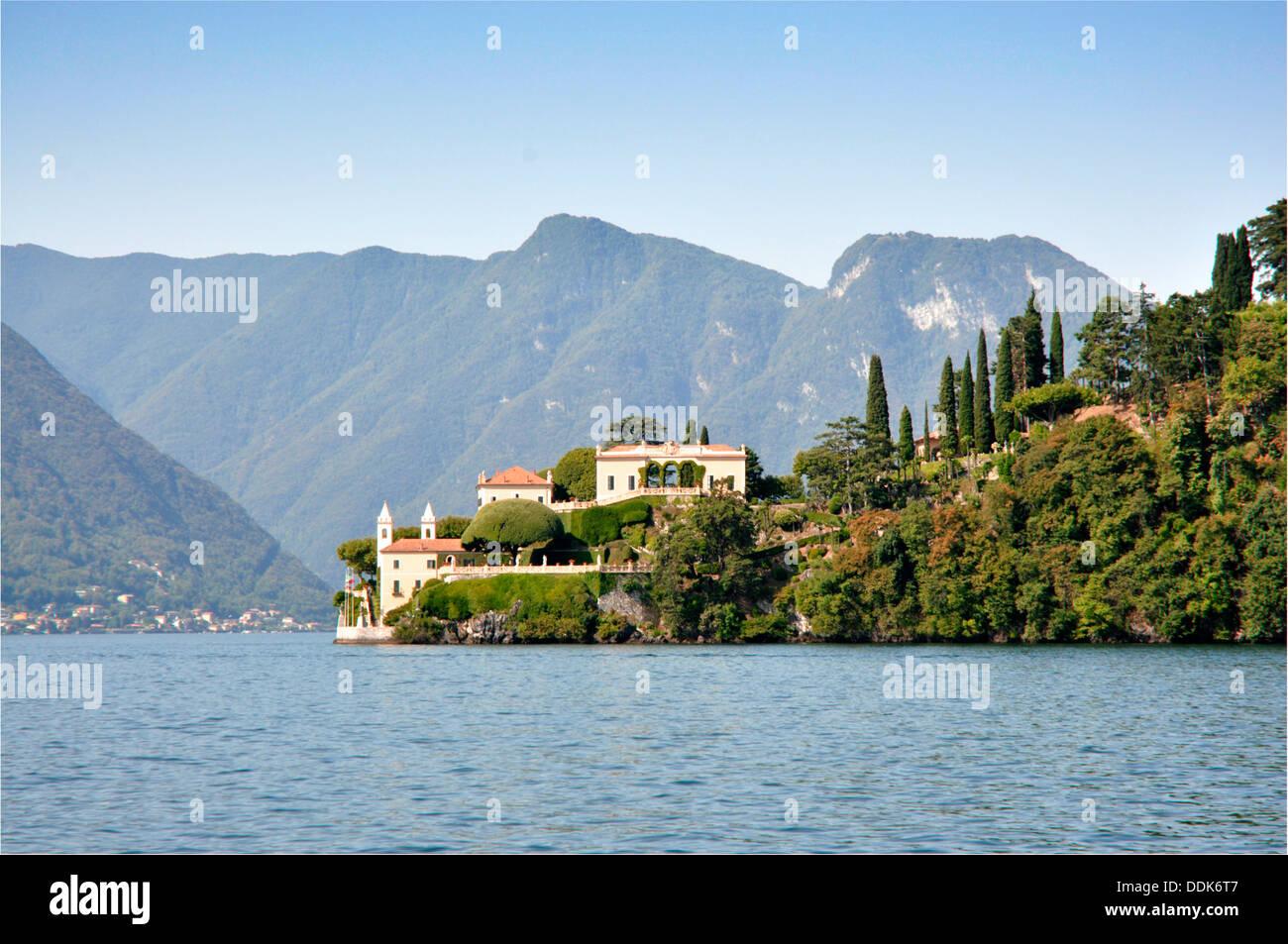 Italy - Lake Como - Lenno - Villa del Balbianello -  on the tip of Punta di Lavedo peninsula - lake view - mountain backdrop. Stock Photo