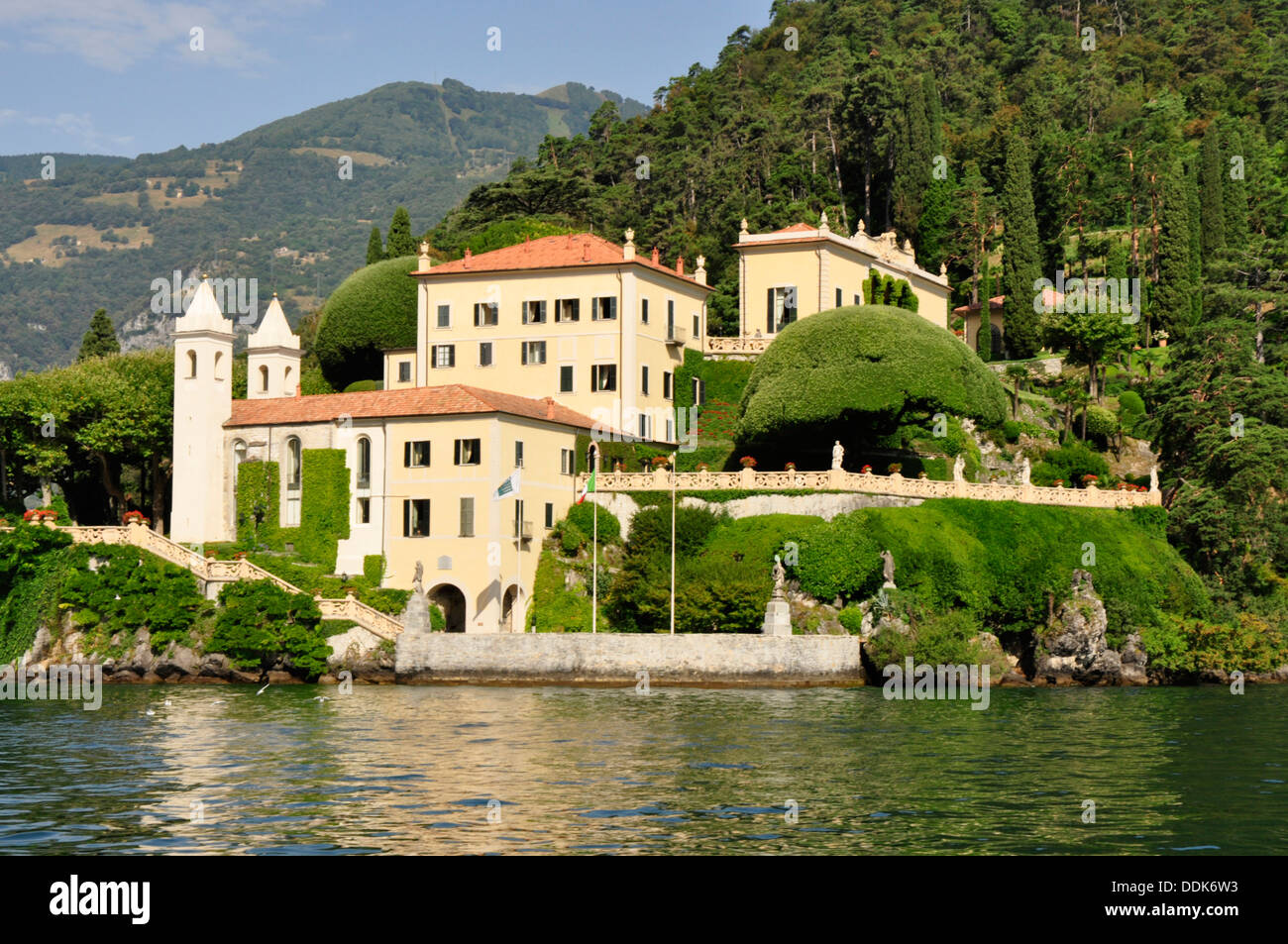 Italy - Lake Como - Lenno - Villa del Balbianello - seen from the lake - built into  slopes of the Punta del Lavedo peninsula. Stock Photo