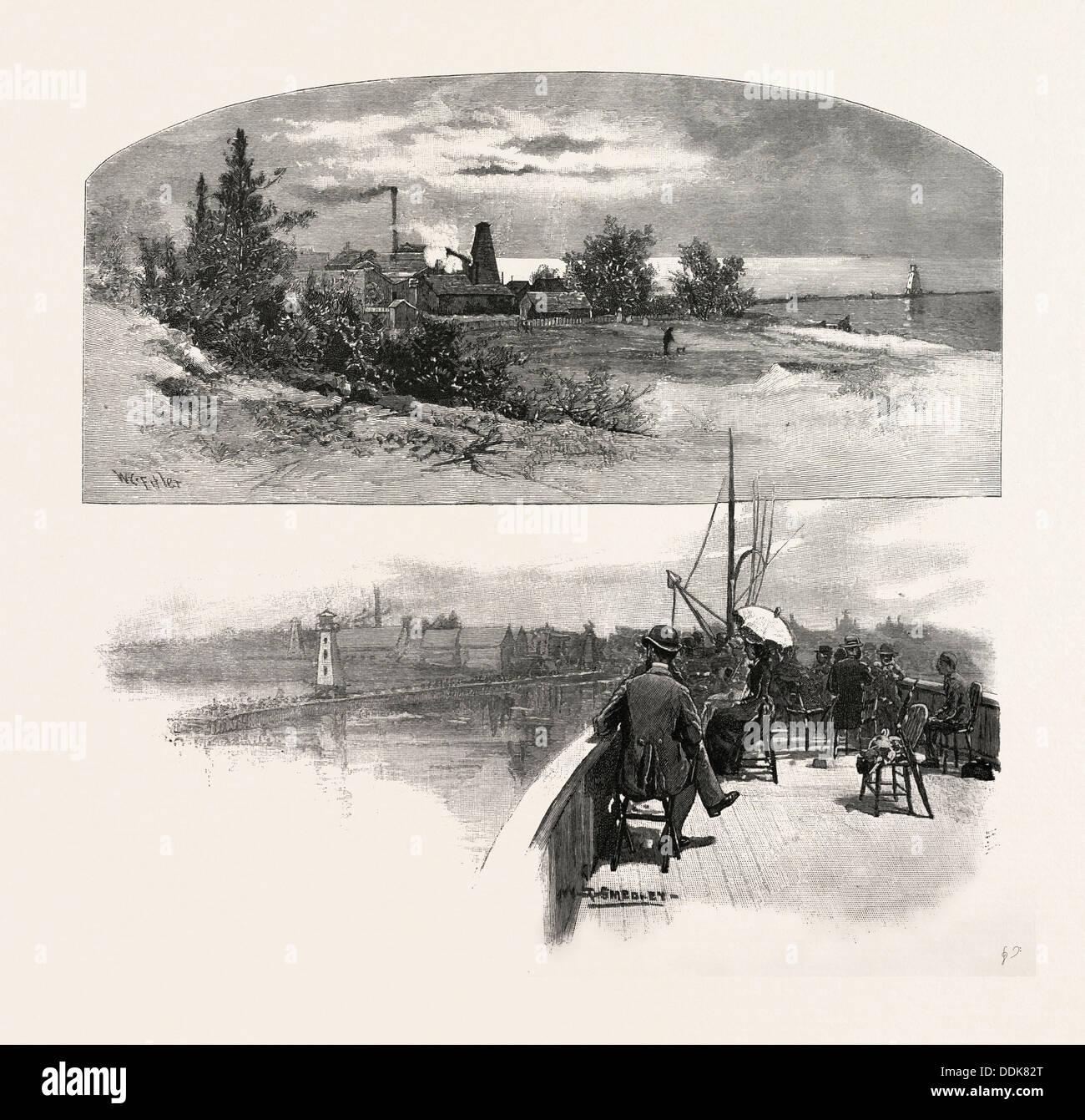 AT KINCARDINE, CANADA, NINETEENTH CENTURY ENGRAVING - Stock Image