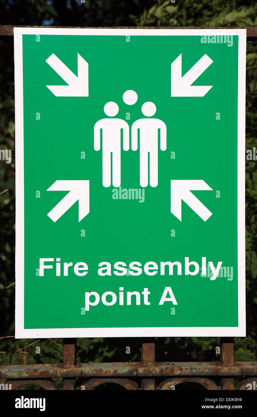 Fire Assembly point notice - Stock Image