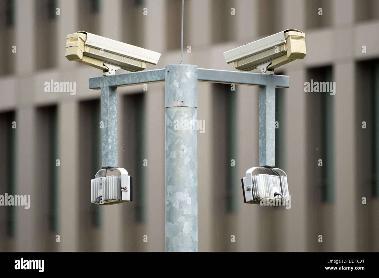 Surveillance cameras monitor the premises of the German intelligence agency in Berlin, Germany, 04 September 2013. Stock Photo
