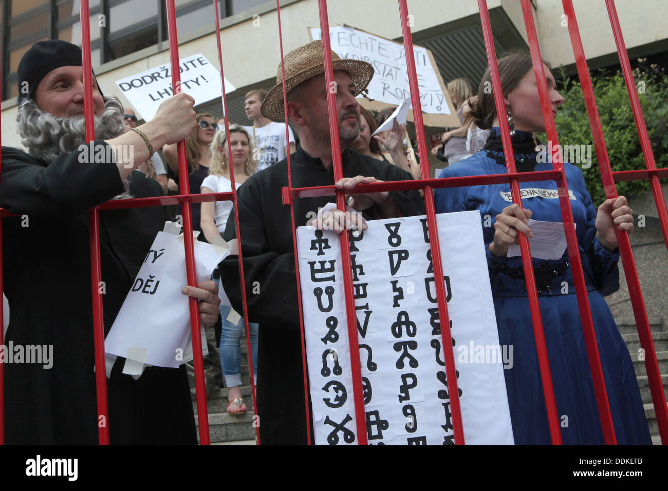 Foreigners protest against the new proposal of the Aliens Act of the Czech Republic in Prague on July 2, 2013. - Stock Image