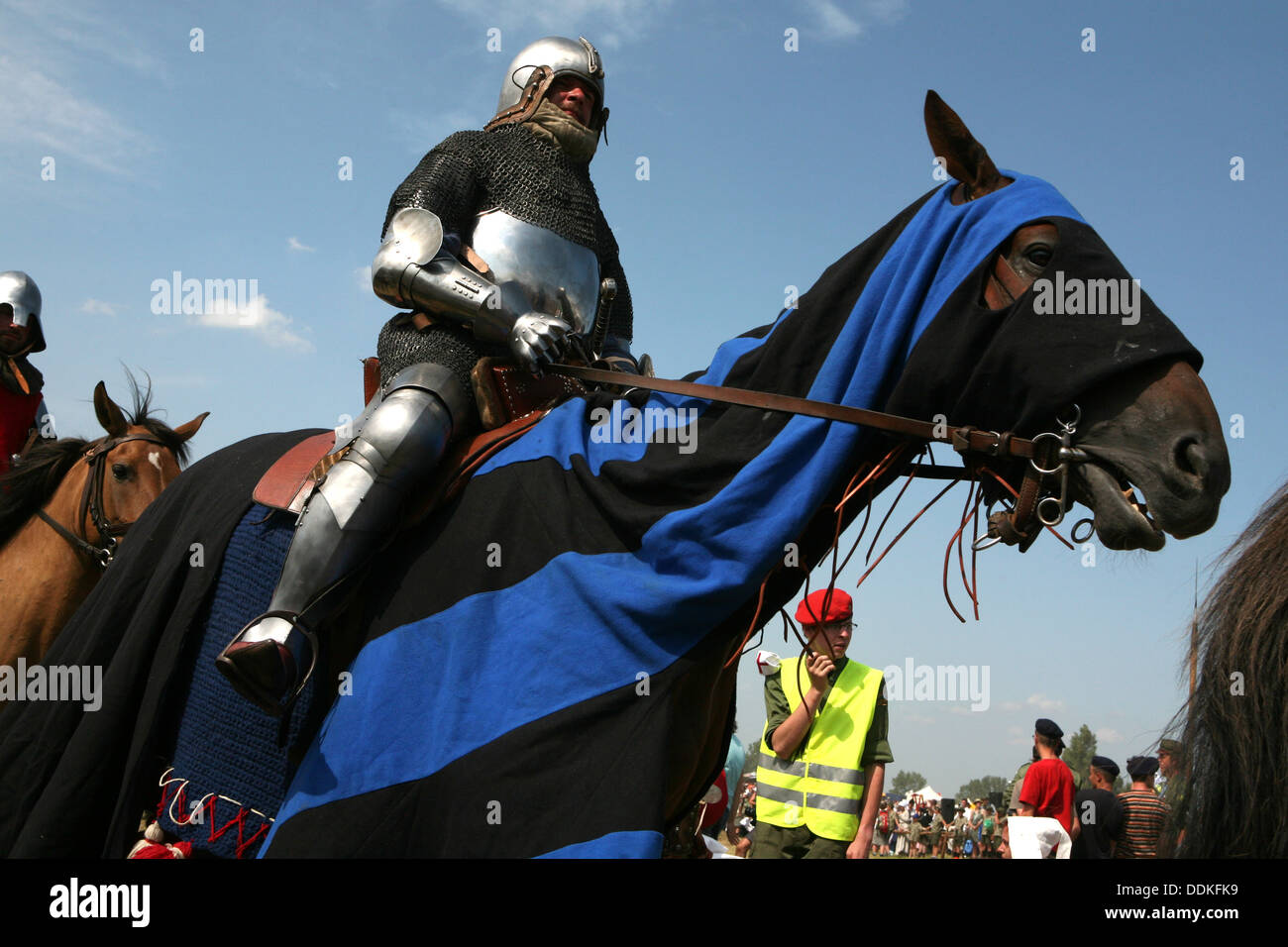 Re-enactment of the 1410 Battle of Grunwald in Northern Poland. Stock Photo