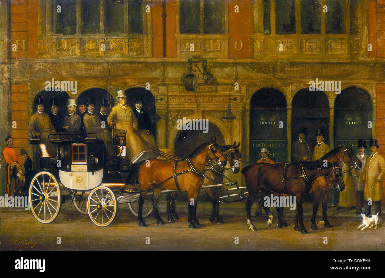 'James Selby's Brighton Coach outside the New White Horse Cellar, Piccadilly, c1888.   Artist: AS Bishop - Stock Image