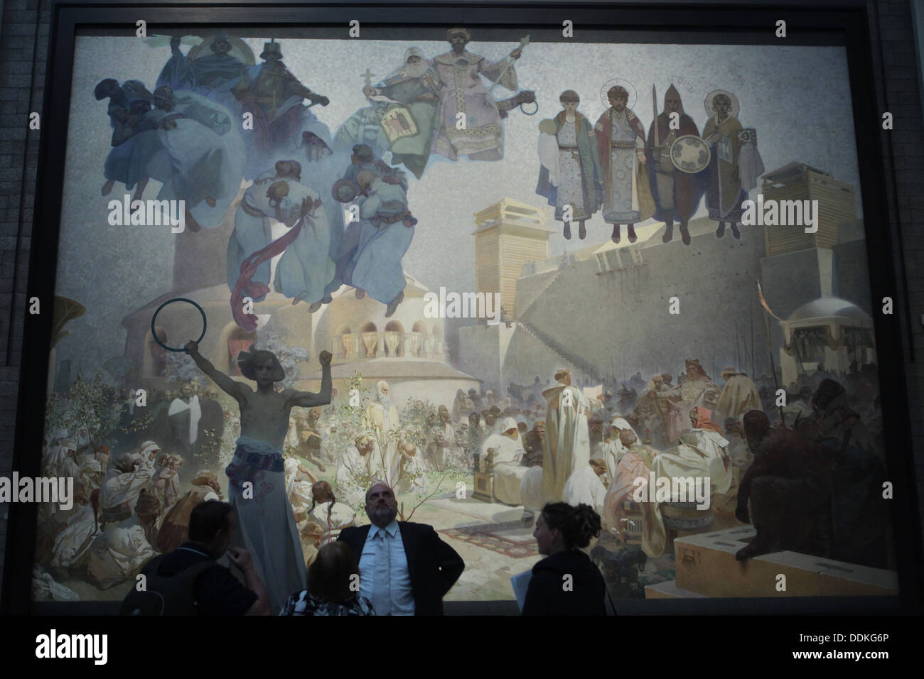 Painting 'The Introduction of the Slavonic Liturgy in Great Moravia' from the cycle 'The Slav Epic' painted by Alfons Mucha. - Stock Image