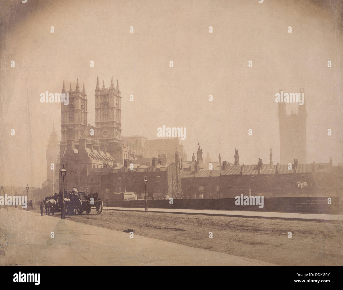 Westminster Abbey, and the Palace of Westminster under construction, London, c1857. Artist: Roger Fenton - Stock Image