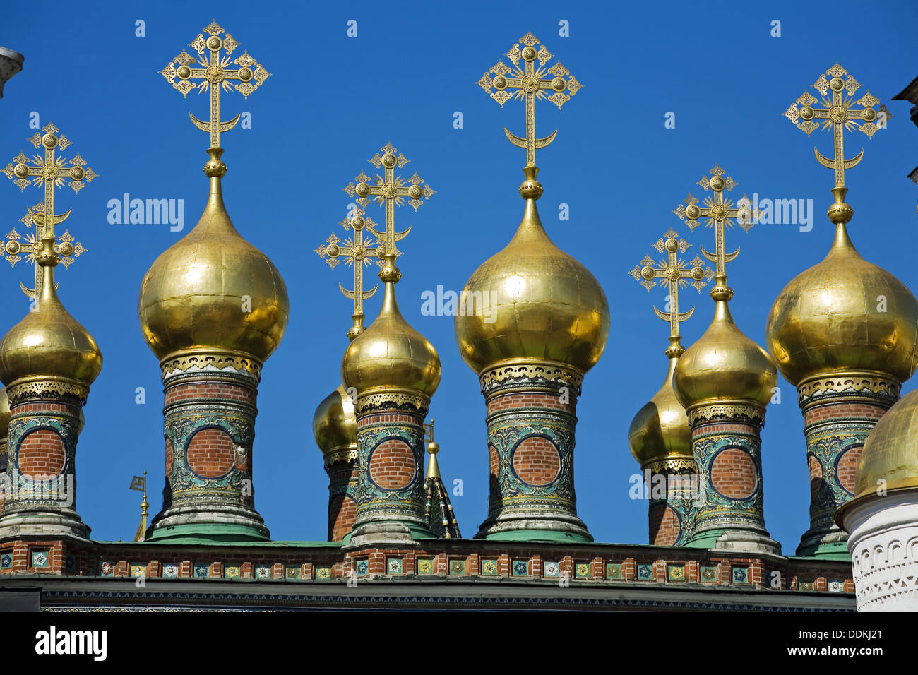 Cupolas of the Terem Churches, Kremlin, Moscow, Russia - Stock Image