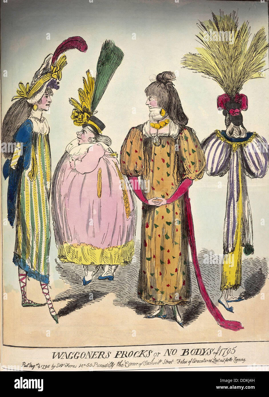 A caricature of late 18th century fashion, 1795. - Stock Image