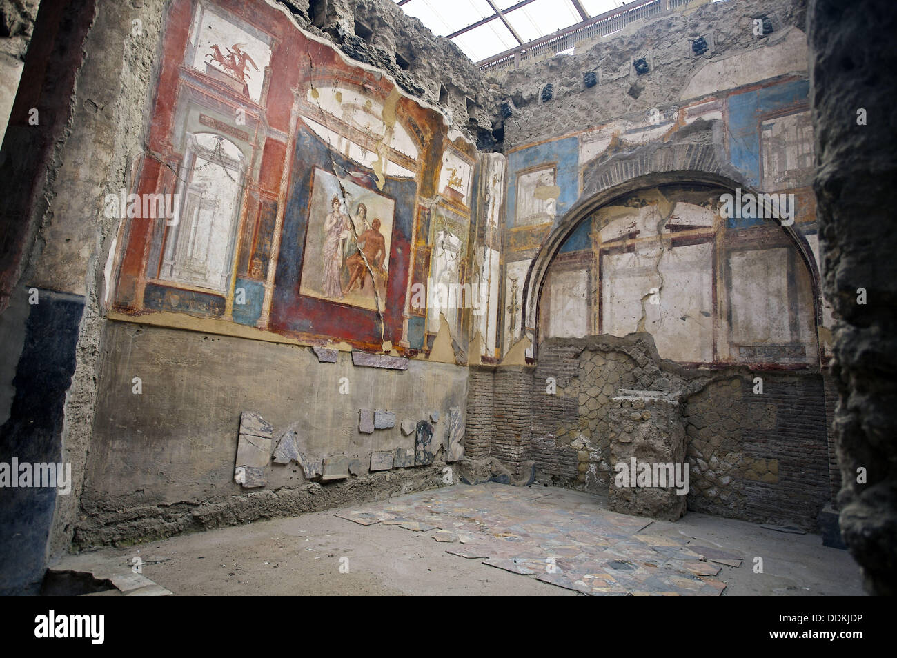 Fresco in the College of the Augustans´ depicting the myth of Hercules, ruins of the old Roman city of Herculaneum. Italy - Stock Image