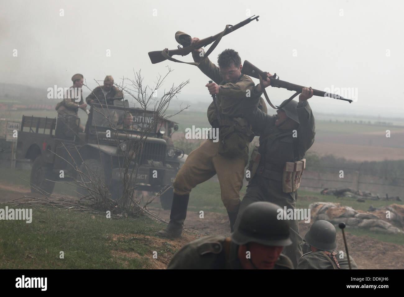 Reenactment of the Battle at Orechov. The 68th anniversary of the end of World War II in Orechov, Czech Republic. Stock Photo