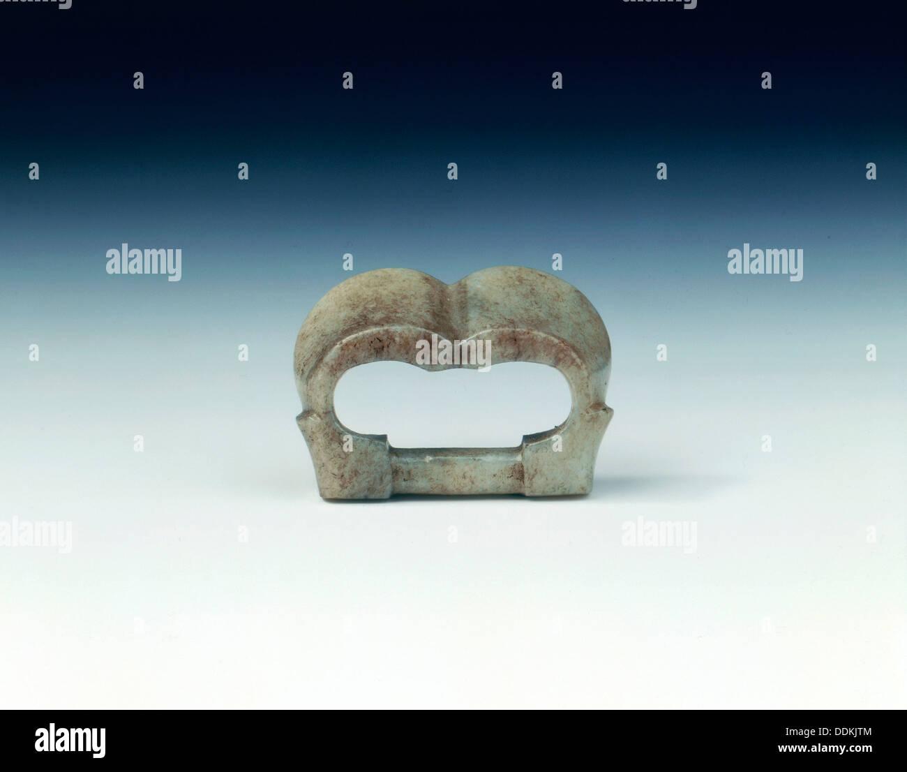 Jade buckle, China, 8th-12th century. - Stock Image
