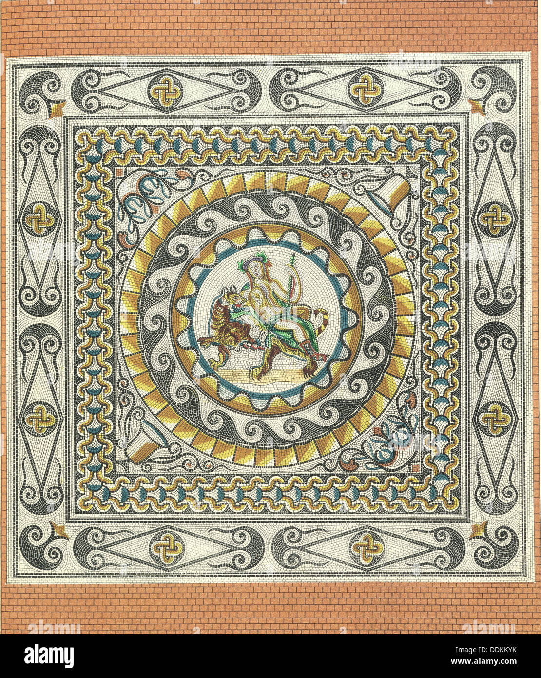Mosaic floor with Bacchus on a tiger, Roman, from London, (1st century?). - Stock Image