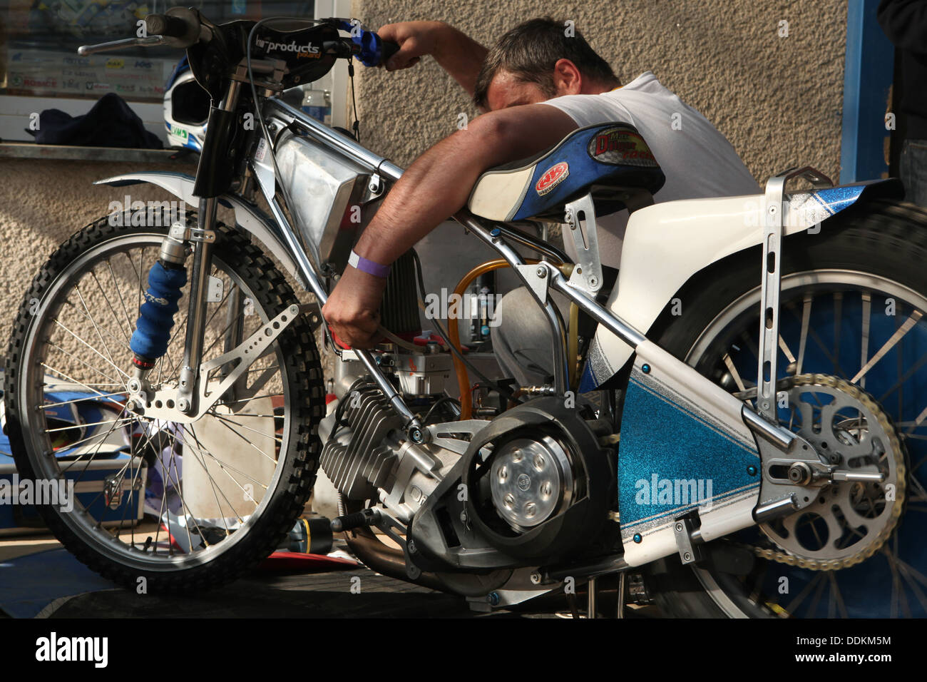 Speedway competition the Golden Helmet Prix in Pardubice, Czech Republic. - Stock Image