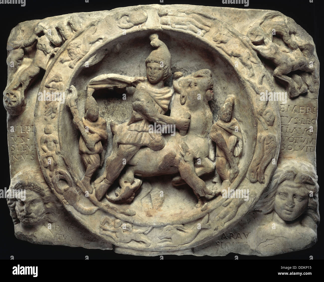 Sacrificial scene of Mithras slaying the bull. - Stock Image