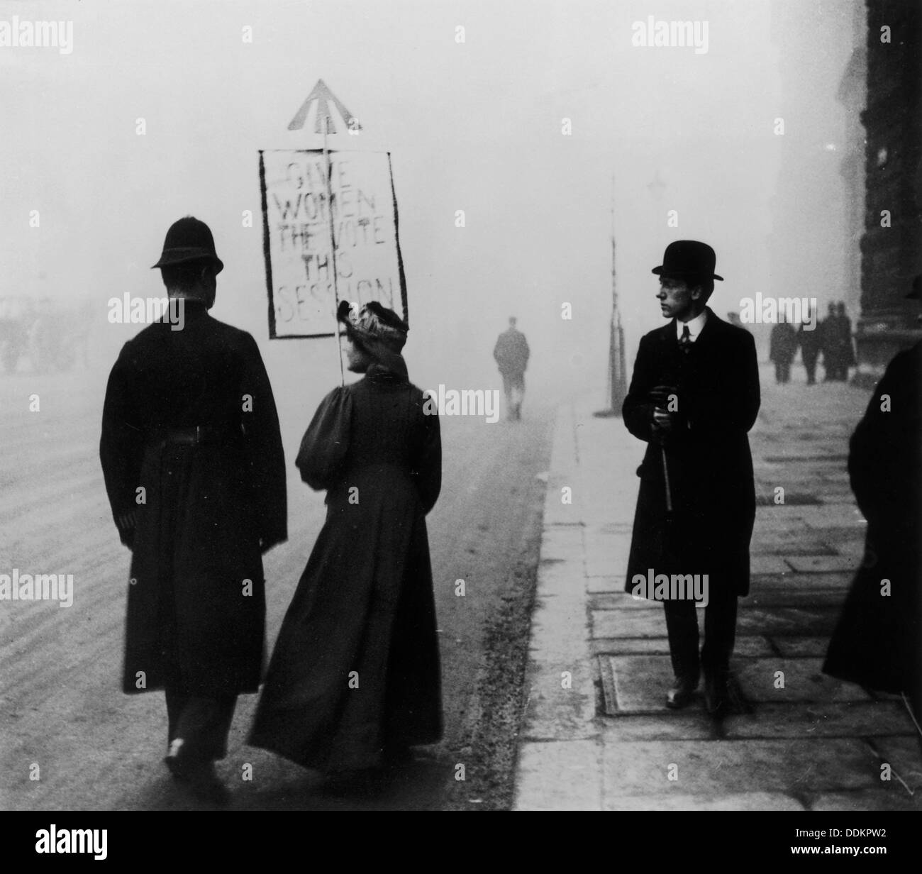 A suffragette demonstrating in Whitehall, London, c1908. - Stock Image