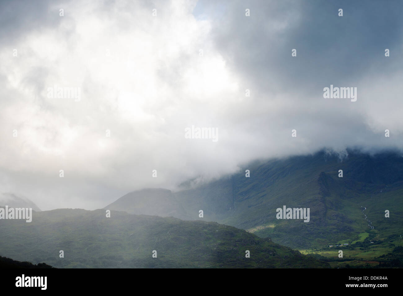 Approaching rain storm, over the mountains of County Kerry, Southwest Ireland - Stock Image