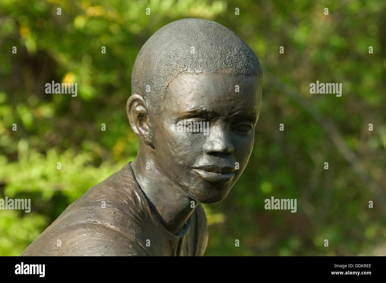 Statue of freed slave boy at Union Army's Contraband Camp in Corinth MS, 1862-1864. Digital photograph - Stock Image
