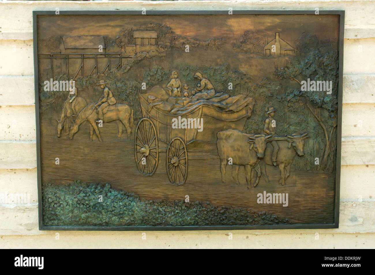 Bas-relief of slaves escaping to freedom at Union Army's Contraband Camp in Corinth MS, 1862-1864. Digital photograph - Stock Image