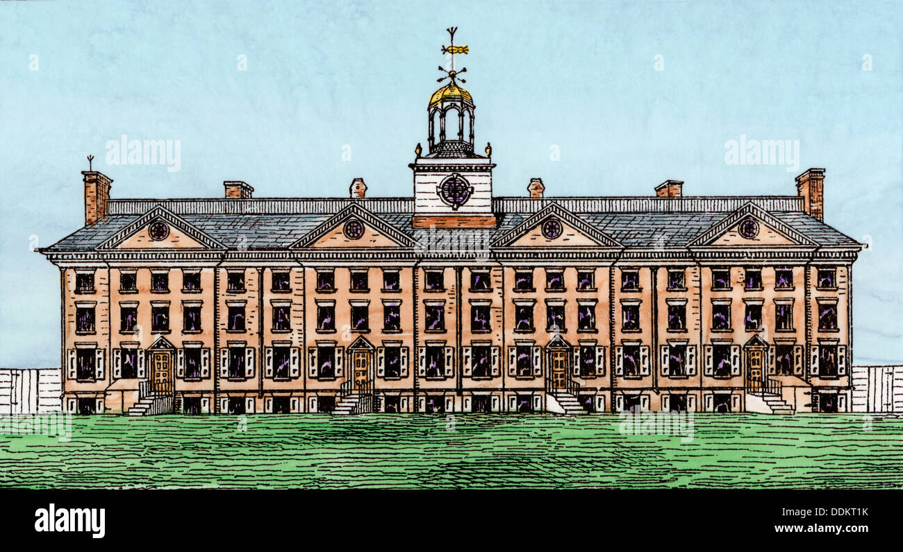 King's College (now Columbia University), New York City, 1700s. Hand-colored woodcut - Stock Image