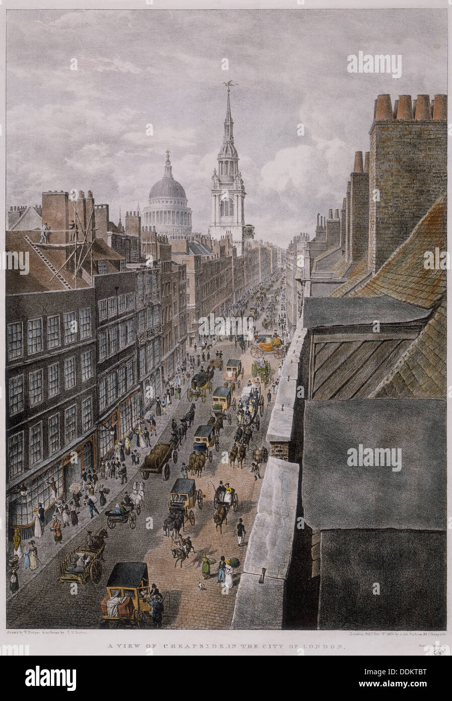 Cheapside, London, 1823. Artist: Thomas Mann Baynes - Stock Image