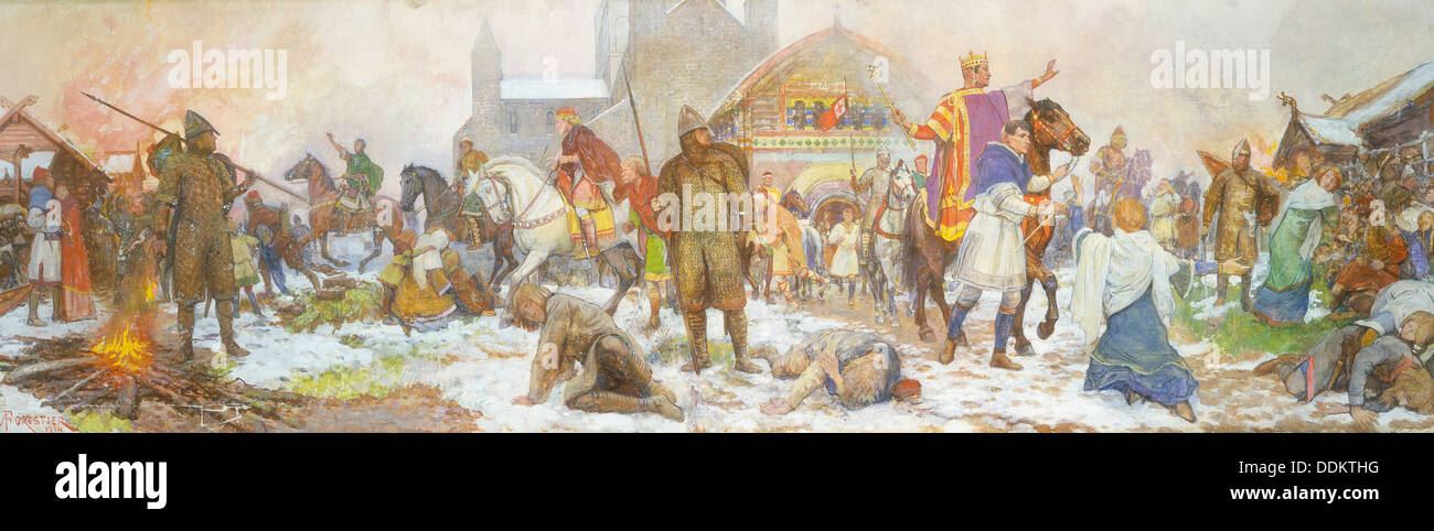 Episode at the coronation of William I, London, Christmas Day,1066, (early 20th century). Artist: Amedee Forestier Stock Photo