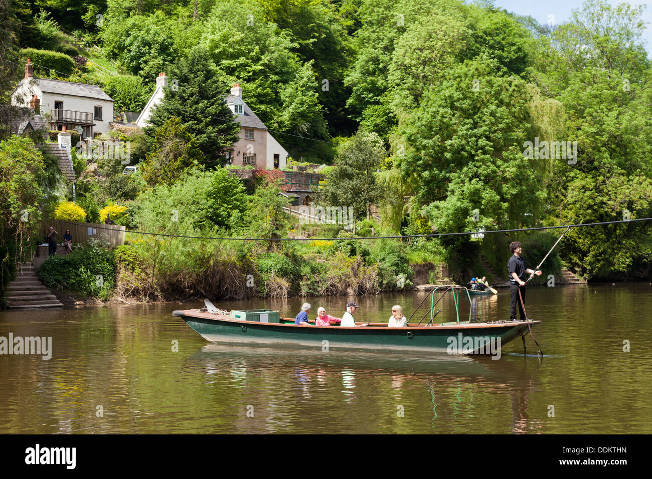 The hand-pulled cable ferry across the River Wye at Symonds Yat, Herefordshire UK - Stock Image