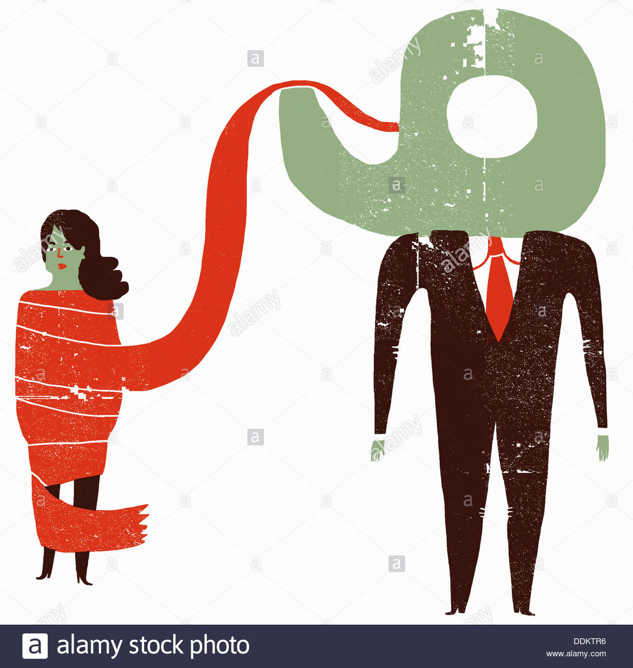 Woman tied up in red tape and businessman with tape dispenser head Stock Photo