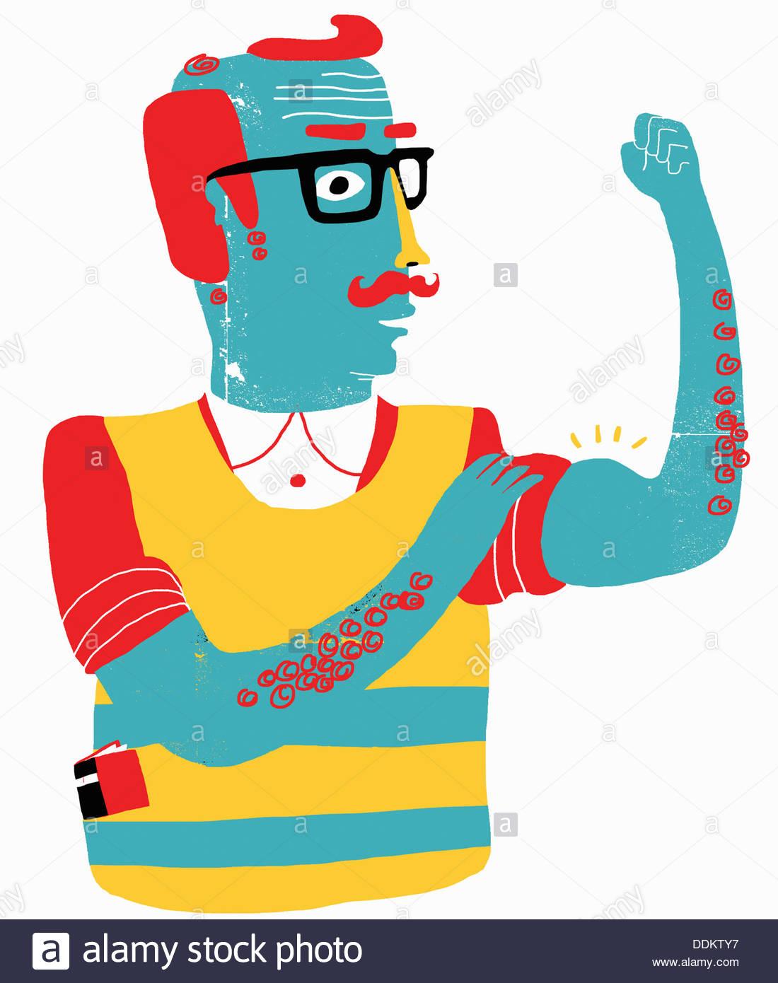 Aging man flexing biceps - Stock Image