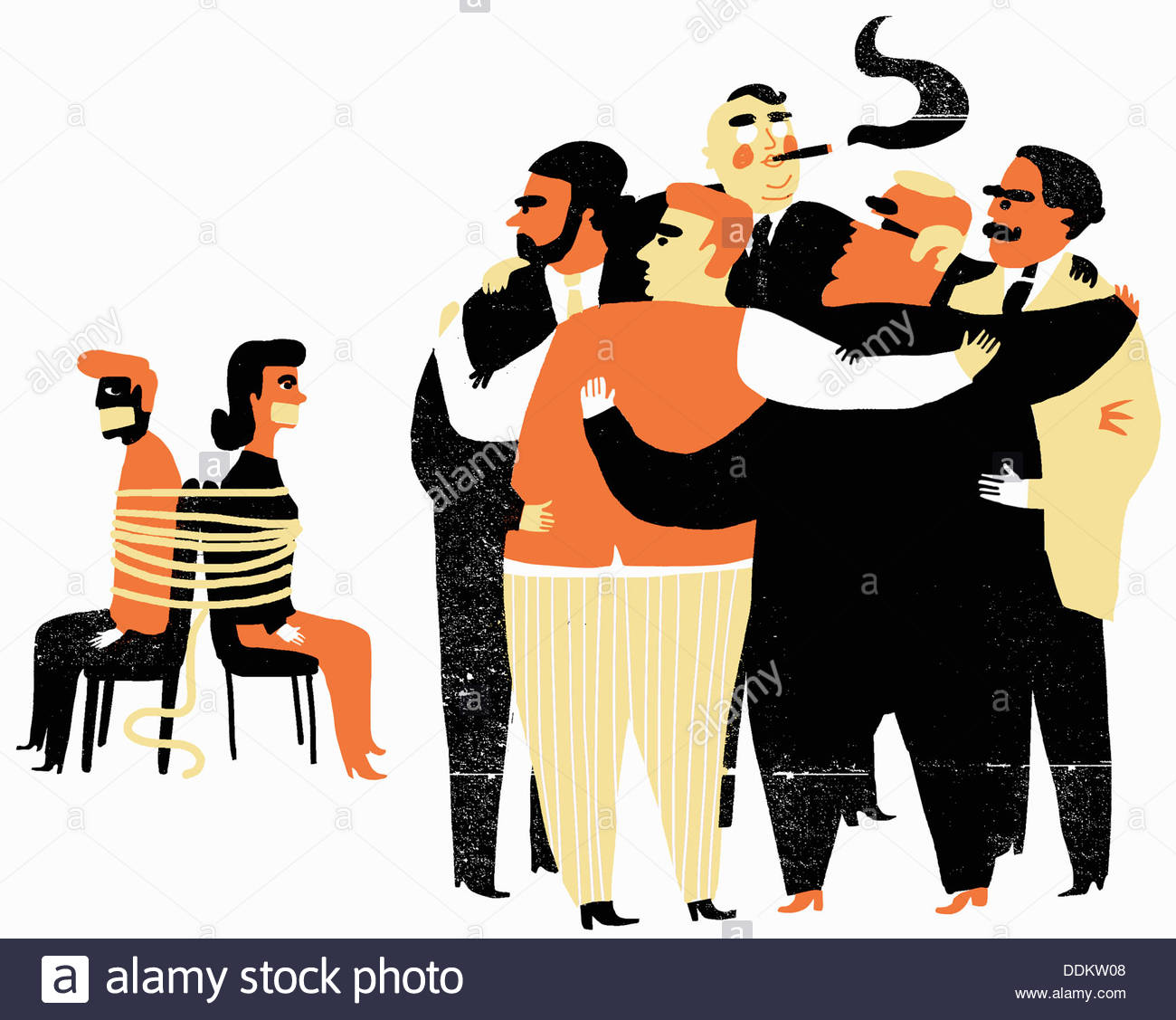 Men in huddle watching tied up couple Stock Photo