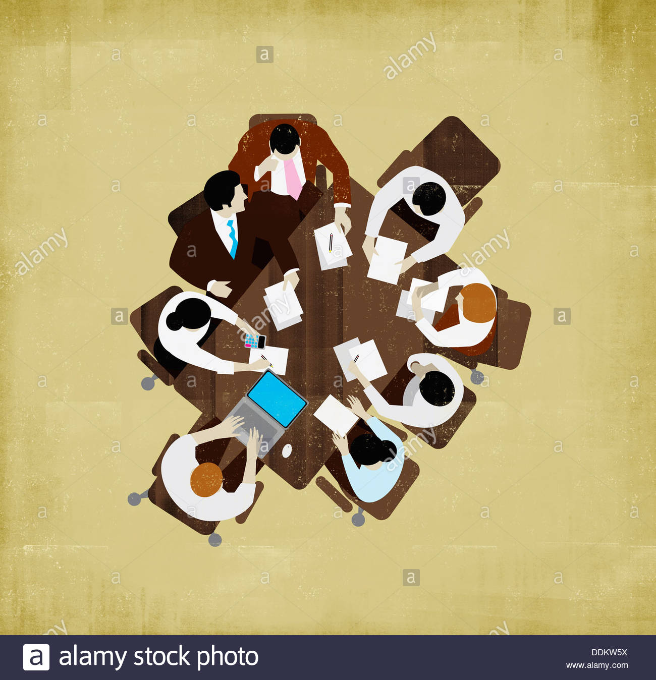 Overhead view of business people meeting around table - Stock Image