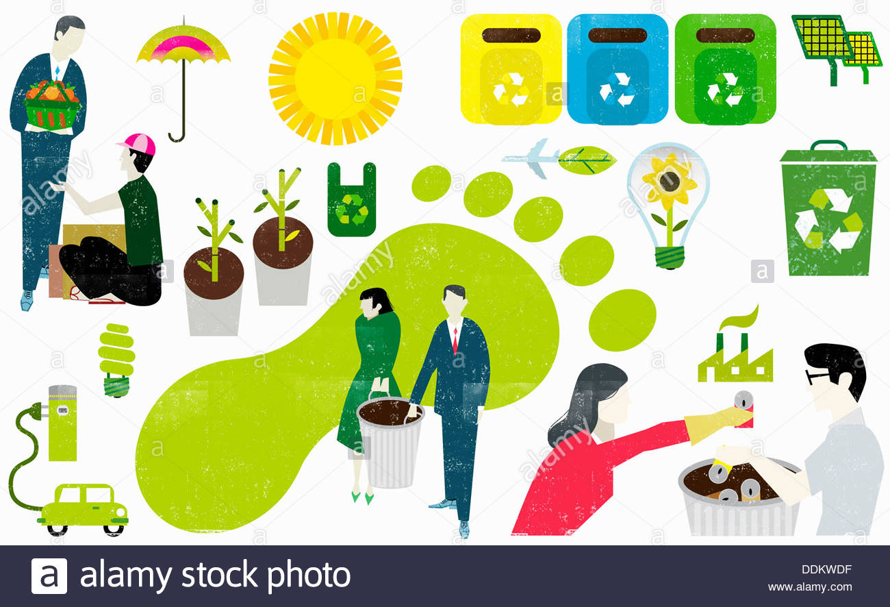 Montage of eco-friendly symbols and business people caring about carbon footprint - Stock Image