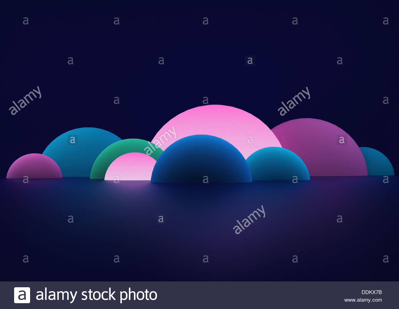 Glowing abstract hemisphere shapes - Stock Image
