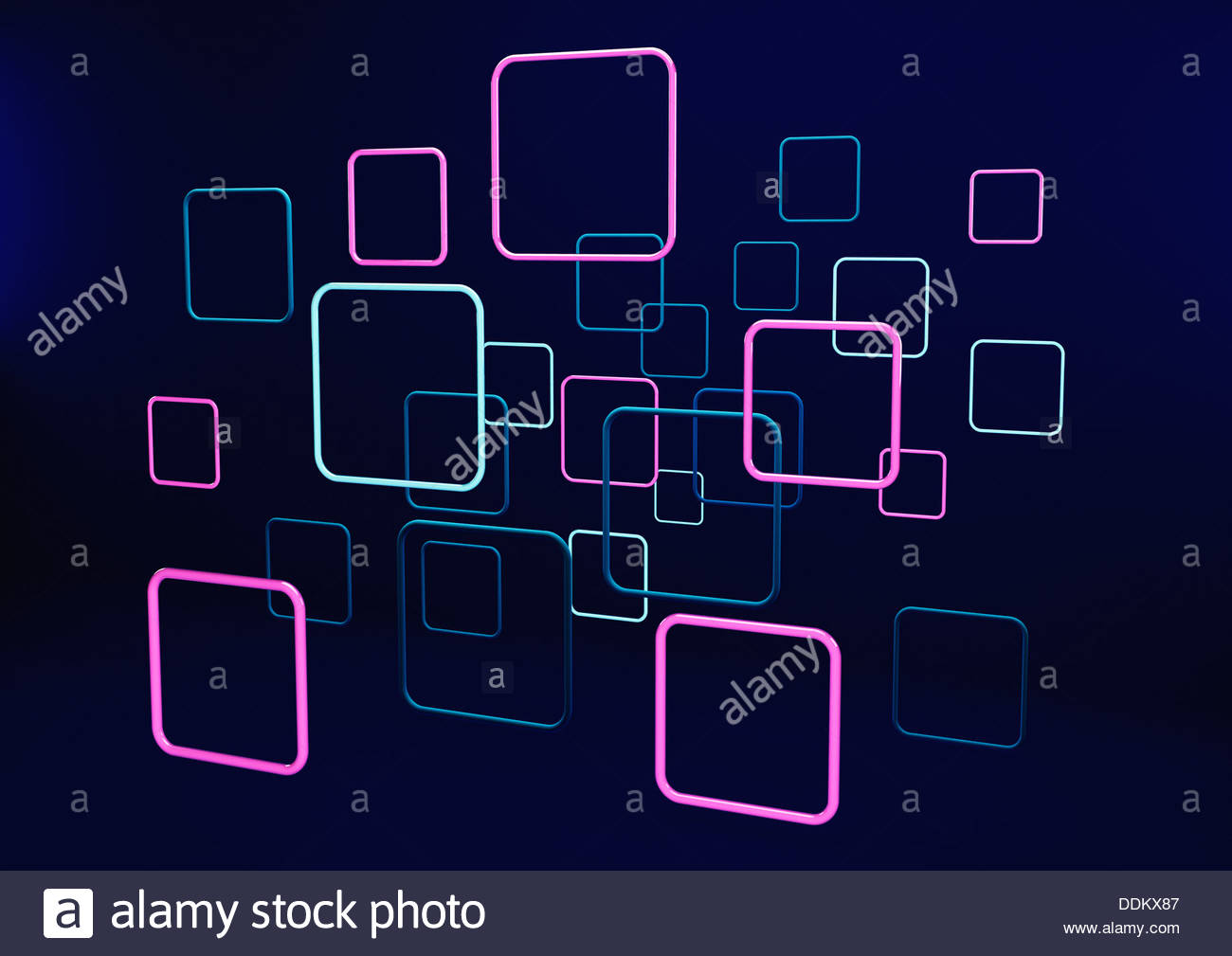 Abstract neon squares on black background - Stock Image