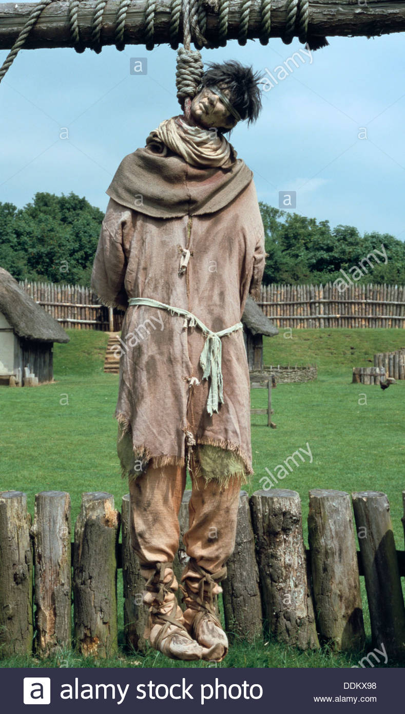 Recreation of a Norman village gallows of 1066, Mountfitchet, Essex.  Artist: Mike Maidment - Stock Image